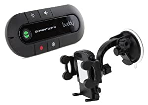 SuperTooth Buddy 2.1 Handsfree Bluetooth Visor Speakerphone Car Kit with Universal In-Car Smartphone Suction Holder for iPhone 3G/3GS/4/4S/5/5S/5C and Samsung Galaxy S3/S4 - Black