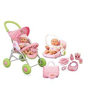 Fisher Price New Born Deluxe Playset - New Born Stroller, Travel Seat, Diaper Bag, 7 Piece Accessori