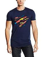 DC Comics Camiseta Manga Corta Superman Torn Logo (Azul Marino)