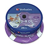 100 Verbatim 43667 DVD+R, 8x, 8.5GB, Dual Layer Print, 4 x 25 spindle