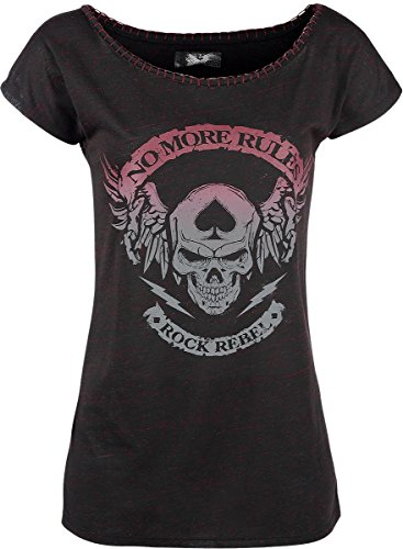 Rock Rebel by EMP Stitched Collar Shirt Maglia donna nero/rosso M