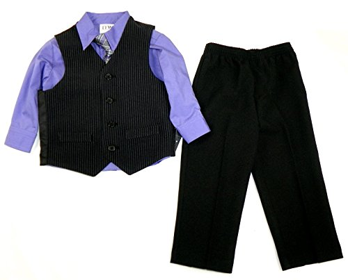 Toddler Boy's 4-piece Vest Dress-up Outfit Lavender