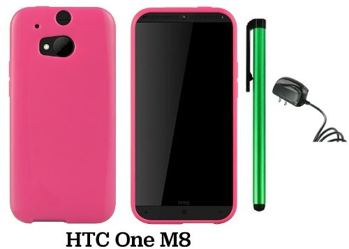 Htc One (M8) Solid Plain Color Tpu Protector Back Cover Case (2014 Q1 Released; Carrier: Verizon, At&T, T-Mobile, Sprint) + Travel (Wall) Charger + 1 Of New Assorted Color Metal Stylus Touch Screen Pen (Pink)
