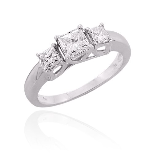 3 Cubic Zirconia Square Shaped Anniversary Band 1 ct. in Sterling Silver