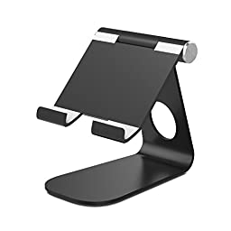 MoKo Tablet Stand Holder, Universal 210 Degree Multi-Angle Rotatable Aluminum Desktop Phone Tablet Holder Cradle for iPad Pro 9.7/iPad Air 2/iPad Mini, iPhone 6s/7 Plus, Samsung Galaxy S7 Edge, BLACK