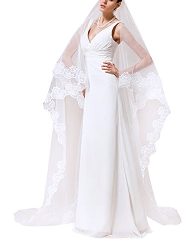[Women Fashion Elegant 1 Tier Lace Applique Edge Long White Wedding Veil Bridal Cathedral Length Veils] (Water Meter Costume)