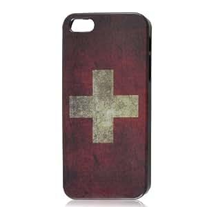 Retro Style Switzerland National Flag Hard Case Back Cover for Apple iPhone 5 5G