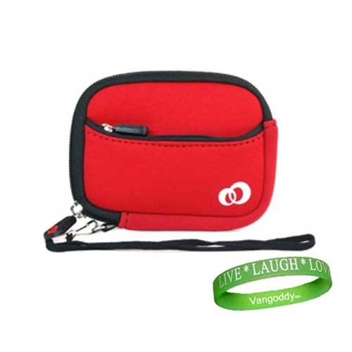 Nikon Coolpix Red Neoprene Mini Glove Bag Carrying Sleeve For Slim Digital Cameras and Camera Accessories: models Nikon CoolPix S1000pj, S3000, S4000, S6000, L20, L22, S70, S220, S230, S570, S630, S640 + Live*Laugh*Love Vangoddy Wristband!!!
