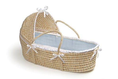 Badger Basket Natural Moses Basket with Hood, Blue Waffle Bedding