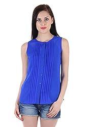 Bonheur Women's Blue Pleated Top (BH-005-Blue-L_Blue_Large)