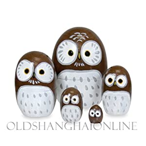 Wood Nesting Doll - Owl (Brown)