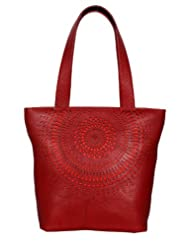 The bag full of style and confidence Leonis laser cut red color women leather handbag by éléments