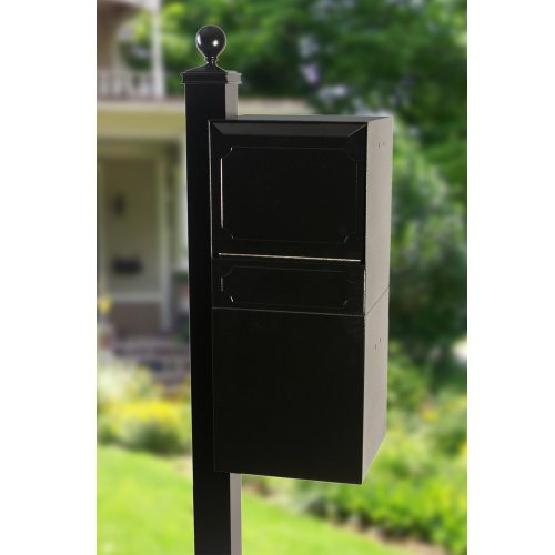 dVault Full Service Locking Mailbox, Black Post/Column Mount Delivery Vault, Box and Side Mount In-Ground Post Kit, DVU0050-SMPI-1-KIT, Black