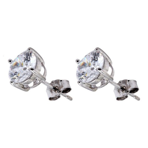 Pure Sterling Silver .925 Round Cubic Zirconia Stud Earrings 3.00 Carats Total Weight Comes in a Gift Box & Special Pouch