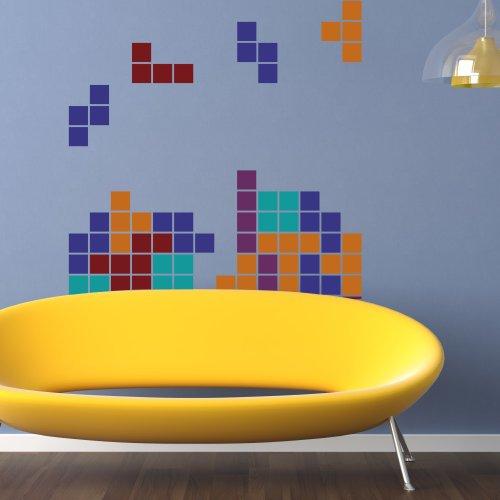 "Tetris Falling Blocks Fridge Decal Wall Decal Mural Vinyl Art Sticker Boys Kids Nursery Decal 52""H X 32""W"
