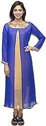 G&Z Collections Women's Georgette Straight Kurta (GZ004, Blue, 46)