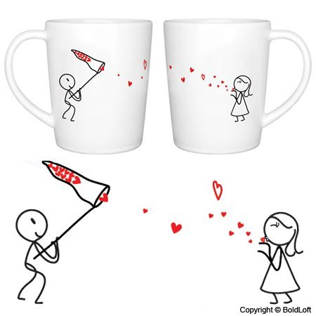 "White Elephant Gift ""Catch My Love"" His and Hers Coffee Mugs"