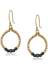 Mizuki 14k Hanging Hoop Earrings with Gold and Silver Faceted Beads