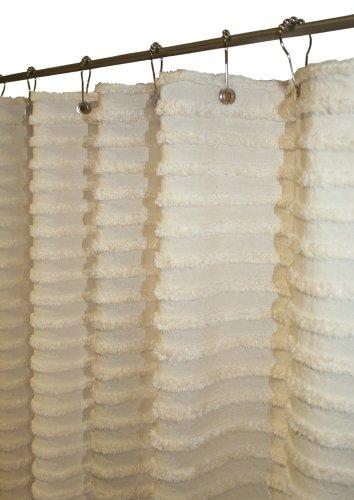 Natural Cotton Fabric Tufted Retro Stripe Shower Curtain