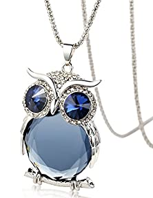 buy Lovely Owl Pendant Necklace,Inlays Austria Crystal Sweater Long Chain(Black)