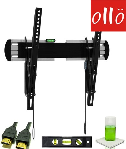 "OllO MOUNTS: 32-55"" LED Tilt / Tilting Ultra Low Profile Universal TV Wall Mount, Designed for Ultra Thin Screens + FREE HDMI CABLE + FREE 6"" TORPEDO LEVEL + FREE SCREEN CLEANING KIT (909-MT)"