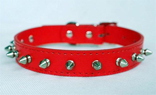 Puppy-league-Pu-Leather-Solid-Pattern-Single-Rows-Bullet-Nail-Studded-Dog-Collars-Chain-for-Pet-Dogs-Chihuahua-Red-XS
