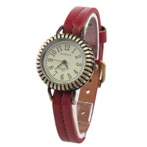 WLM Women Ladies Girls Red Band Classic Retro Gear Design Leatheroid Made Quartz Wrist Watch Watches Clock