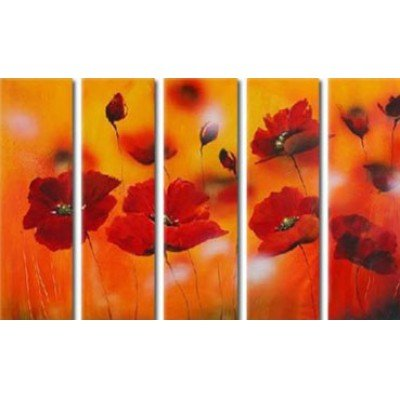 Sangu 100% Hand Painted 5-Piece Red Little Flowers Oil Paintings Canvas Wall Art For Home Decoration