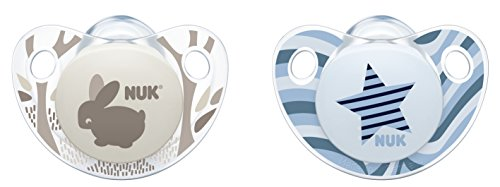 NUK 10175133 Trendline Silikon-Schnuller, Größe 1, 0-6 Monate, kiefergerechte Form, BPA frei, 2 Stück, Boy
