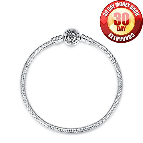 Glamulet 925 Sterling Silver Snake Bracelet Snap Clasp Fits Pandora Charms Beads 20cm-7.87inch Ideal Jewelry Gifts for Birthday, Anniversary, for Women, Mom, Wife, Girls