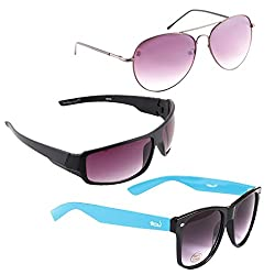 Elligator Stylish Aviator Spartiate Purple And Purple Nightvision With Blue Wayfarer Sunglasses Combo ( Set of 3 )
