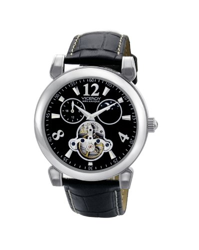 Viceroy Mécanique Collection Gents 24 Hours: Sun And Moon Black Leather Strap Watch.
