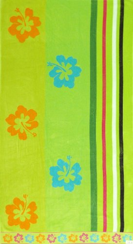 Adult Kids Children's Large Velour Cotton Lime Green Flowers Stripes Beach Bath Towel 7149