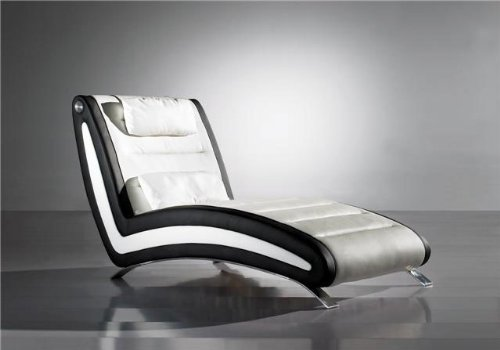 SAM® Kunstleder Relaxliege Chaiselounge Soho in weiss schwarz, Liegefläche mit Ziernähten, chrom farbene Füße, geschwungene Seitenteile, modernes Design, montiert Auslieferung durch Spedition