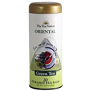The Tea Nation Oriental Green Tea - Pyramid Tea Bags - 20 Servings, 1.41-Ounce Tins (Pack of 3)