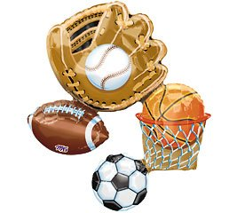 "Sports Lg Mylar Balloon 32"" Basketball Baseball Soccer Football (MULTI, 1)"