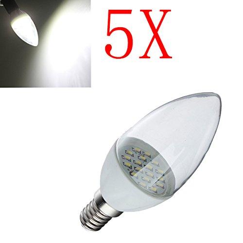 5X E14 2W Pure White 18 Smd3014 Led Candle Light Lamp Bulbs 85-265V
