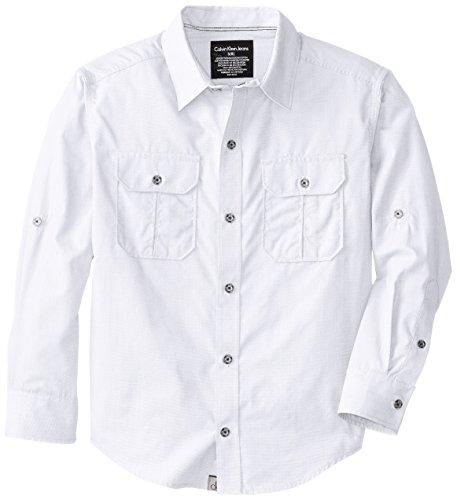 Calvin Klein Big Boys' Ck Long Sleeve Rollup Shirt, White, X-Large