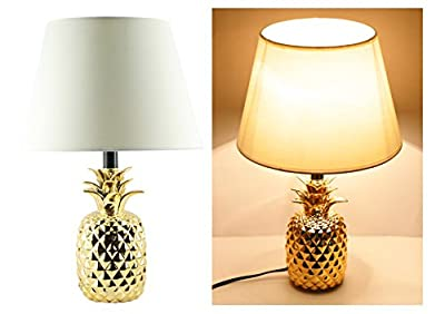"19"" Ceramic Pineapple Gold Finish Table Lamps"