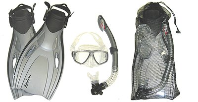 Small/Medium Body Glove Mask Dry Snorkel Fin Set w/Bag for Snorkeling Silver S/M (men 4 1/2 - 8 1/2) (wmn 5 1/2 - 9 1/2) Fins Package Vacation Authorized Dealer