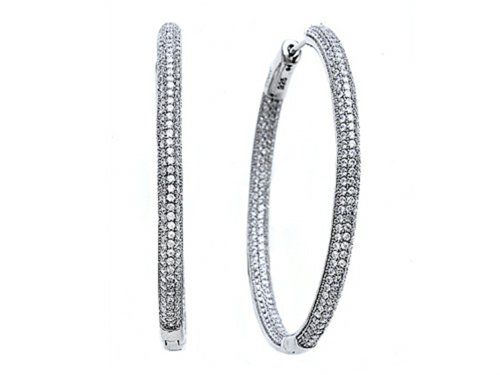 Zoe R 3D Hand Set Cubic Zirconia Hoop Earrings