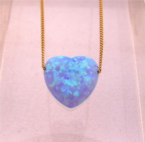 Blue Opal Heart Pendant Gold Filled Necklace