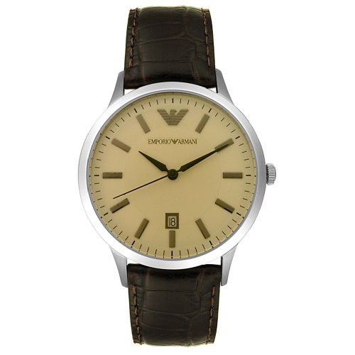 Emporio Armani Men's AR2427 Large Stainless Steel and Brown Leather Watch
