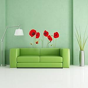 Walplus - Vinilos adhesivos de quita y pon, diseño de amapola, transparentes - BebeHogar.com