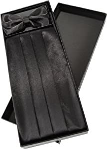 Cummerbund and Bow Tie Set With Box (Black)