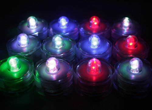 Pack Of 36 - Multi-Color - Submersible Waterproof Underwater Tea Light Sub Lights Battery Led Tealight ~ Wedding Centerpieces, Decor, Holiday, Party~Bluedot Trading