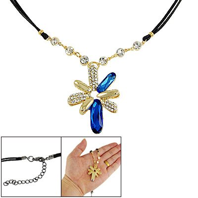 Rosallini Lady Rhinestone Decor Blue Plastic Crystal Inlaid Flower Pendant Necklace