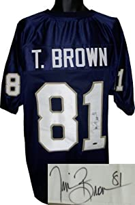Tim Brown signed Notre Dame Fighting Irish Navy Custom Jersey- Tri-Star Hologram