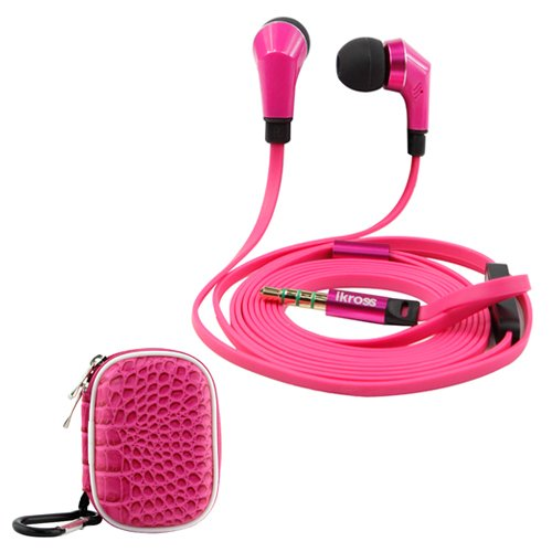 Ikross Hot Pink / Black In-Ear 3.5Mm Noise-Isolation Stereo Earbuds With Microphone + Hot Pink Small Accessories Carrying Storage Eva Case For Htc One (E8)/ (M8)/ (M7), One Mini 2, Desire 610, Desire / Desire 601, One Max, One Mini