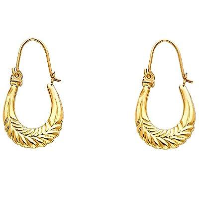 Wellingsale® Ladies 14k Yellow Gold Polished Diamond Cut Fancy Hollow Oval Hoop Earrings (13 X 22mm)